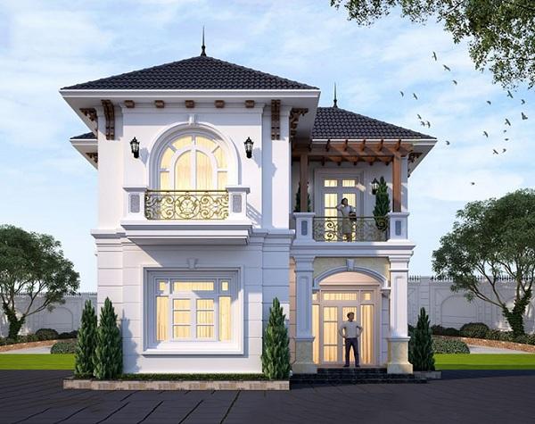 Biệt thự mini 2 tầng phong cách bán cổ điển