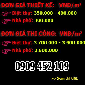 Bảng giá thiết kế Công Ty Nhà Xinh
