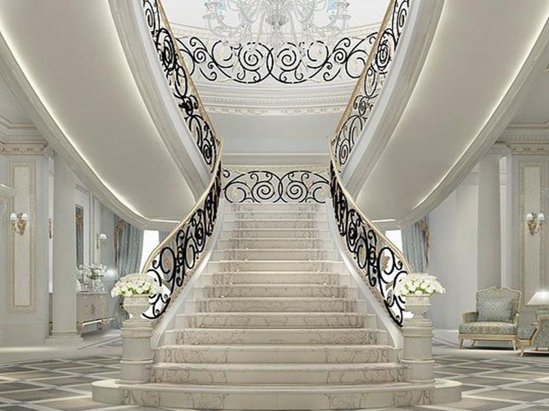 Mẫu cầu thang biệt thự cổ điển Châu Âu (chữ T)